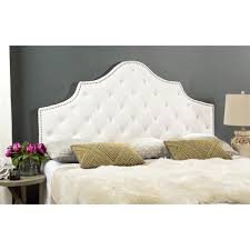 white tufted headboard. Contemporary Headboard Safavieh Arebelle White Velvet Upholstered Tufted Headboard  Silver  Nailhead King In C