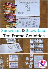 snowman snowflake themed ten frame printables no prep hands on