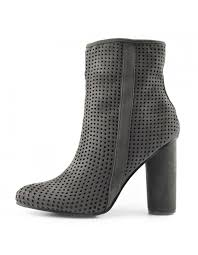 womens grey heeled microfiber ankle side zip up boots