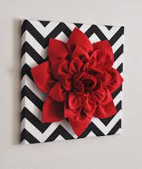 Red Bathroom Decor Red Wall Flower Red Dahlia On Black And White Chevron 12 X12