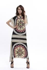 Double Luck Nepal Ethnic Print Straight Long Summer Dress Women
