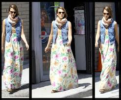 Jessica Alba, floral, maxi dress, hollywood fashion, long dress for women