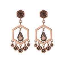 daisy london sahara rose gold plated smoky quartz chandelier earrings