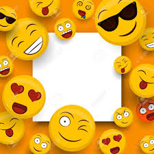 Social Yellow Emoticon Icons On Isolated White Copy Space Template