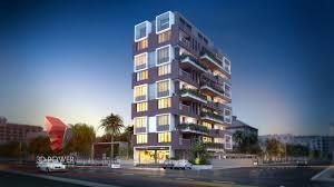 apartment design exterior. 3d apartment evening view design exterior