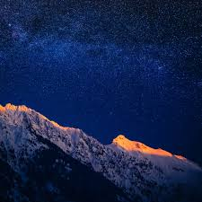 starry dusk over mountains