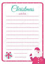 Santa List Template Vecor Christmas Wish List Template Colorful Style With Santa
