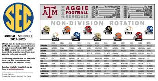future sec football schedule rotation released texas a m football theeagle