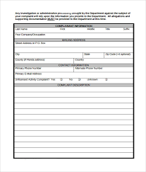 Complaint Template Sample Complaint Form 7 Free Documents In Pdf Word