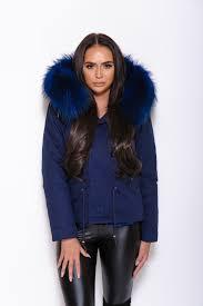 navy rac fur collar parka coat matching fur