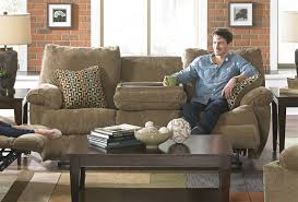 reclining sofa with drop down table in desert color fabric by microfiber ideas 12