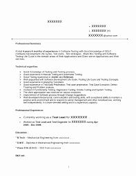 Resume Format For Qa Engineer Elegant Download Database Test