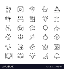 Outline Web Icon Set Wedding Royalty Free Vector Image