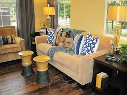 impressive ceramic garden stool in living room contemporary with grey and yellow next to yellow walls with curtains