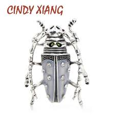 <b>CINDY XIANG New</b> Arrival Gray <b>Color</b> Enamel Beetle Brooches for ...