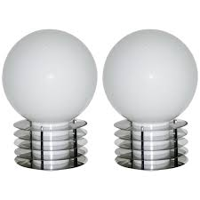 1960s italian pair of modern double lit white glass and chrome round table lamps