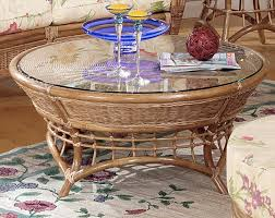 orange beach rattan coffee table with