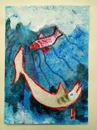 painting of 2 playful fish in a blue ocean