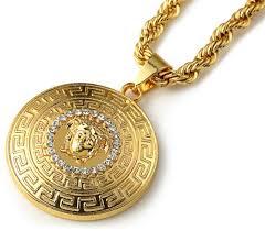 fashion 18k gold men jewelry medusa head pattern neckla