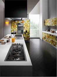 dark wood modern kitchen cabinets. Sumptuous Graphic Artwork Floral Patterns Modern Kitchen Cabinets Panels Added White Porcelain Countertop On Dark Wood Chevron Flooring Ideas