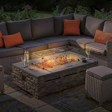 kalos stone firepit coffee table