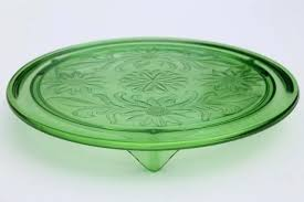 glass cake plate vintage green depression glass cake plate sunflower low plateau cake stand glass cake plate with dome lid