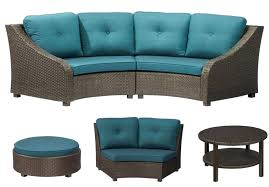 outdoor patio furniture sectional 5 piece all weather wicker patio sectional set with blue cushions modular