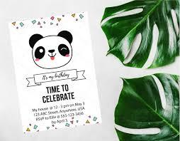free panda party invitation template