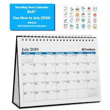 2019 2020 Academic Calendar Small Wall 8x6 Blue Use To July 2020 Double Sided Desktop Calendar Tent Standing Easel Flip Calendar Counter Or