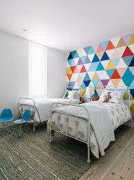 View In Gallery Fabulous Wallpaper Adds Color And Pattern To The Cool Kidsu0027 Bedroom Design Shawback