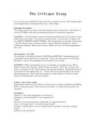 critique essay outline how to write a criticism paper critique