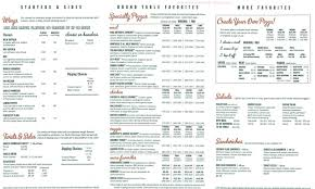 menu of round table pizza