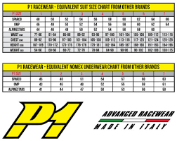Kart Suit Size Chart P1 Sizing Chart For Stock Suits Performance Racegear