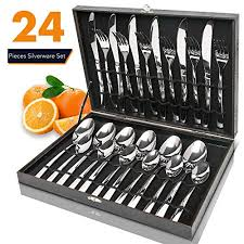 silverware set elegant life 24 piece stainless steel flatware sets high grade mirror