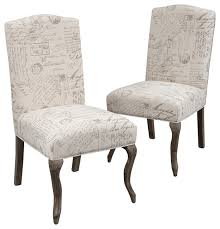 crown back french script beige fabric dining chairs set of 2