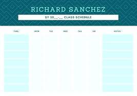 Class Schedule Template Online Teal Diamond Pattern Class Schedule Template Online Schedules