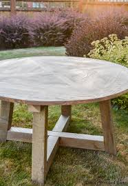 diy round outdoor table. How To Build A DIY Salvage Wood Beam Round Dining Table. Plans By Jen  Woodhouse Diy Outdoor Table