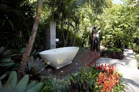 outdoor bathroom with shower and bathtub design dean herald rolling stone landscapes