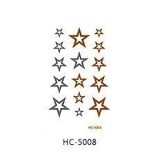 099 1ks Zlaté A Stříbrné Hvězdy Dočasné Tetování Nálepky Blesk Kovové Body Art Vodotěsný Tetování Vzor Hc5008
