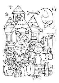 Small Picture Funny kids and Halloween coloring page for kids printable free