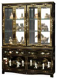 60 black lacquer pearl figure motif china cabinet asian china cabinets and chinese inspired furniture