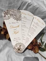 Intricate Lace Design Wedding Program Fans Petal Fan Programs