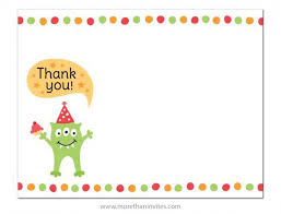 Monster With Party Hat And Cupcake Flat Thank You Note Card