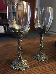 seagull pewter canada wine glasses 2 sculpted rose stem foot box 1995