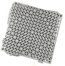 set of 9 interlocking gray rubber floor tiles 11 5 inches each side non