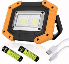 Battery Halogen Lights Otyty 2 Cob 30w 1500lm Led Work Light Rechargeable Portable Waterproof Led Flood Lights For Outdoor Camping Hiking Emergency Car Repairing And Job
