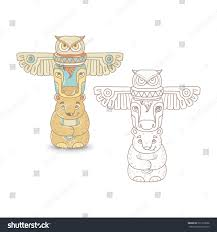 Totem Pole Design Template North Indian Totem Pole Owl Buffalo Stock Vector Royalty