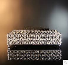 Decorative Glass Trays Stainless Steel Rectangle Serving Traycrystal Tray For Wedding Party 4