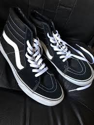 Vans Classic Sk8 Hi Tops Black White Mens Skateboard 10 5