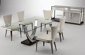 rectangle gl top table with silver steel legs and black base interior bined white leather chairs demarco dining